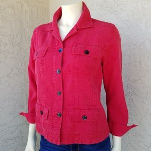 Chico's Cherry Red Silk Brocade Utility Jacket